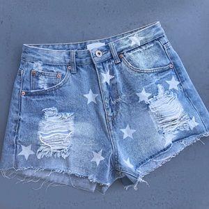 Vintage Denim Star Cut Off Shorts